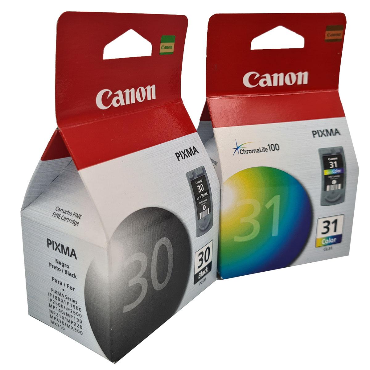 Kit 2 cartuchos Canon PG30 Preto e CL31 colorido para MP190 MP160 MP140 IP1800