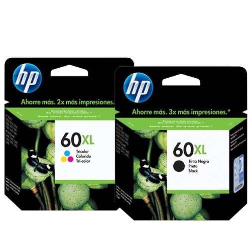 Kit 2 cartuchos HP 60XL para D110 F4280 F4480 CC641WB CC644WB