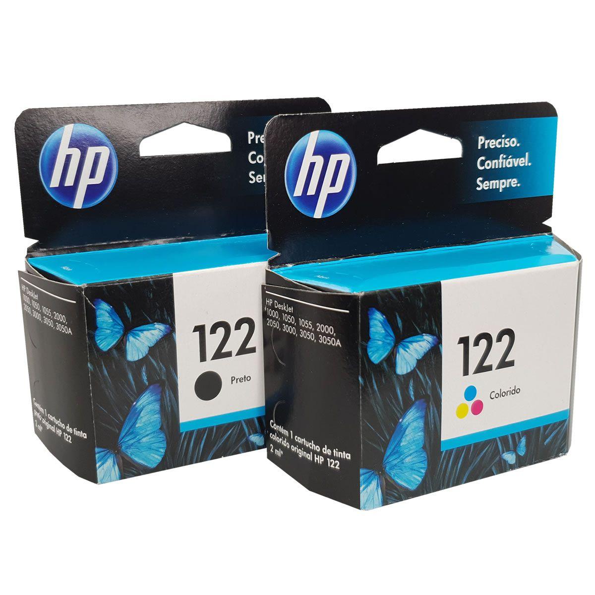Kit 2 cartuchos HP 122 preto e colorido para 1000 2050 3050
