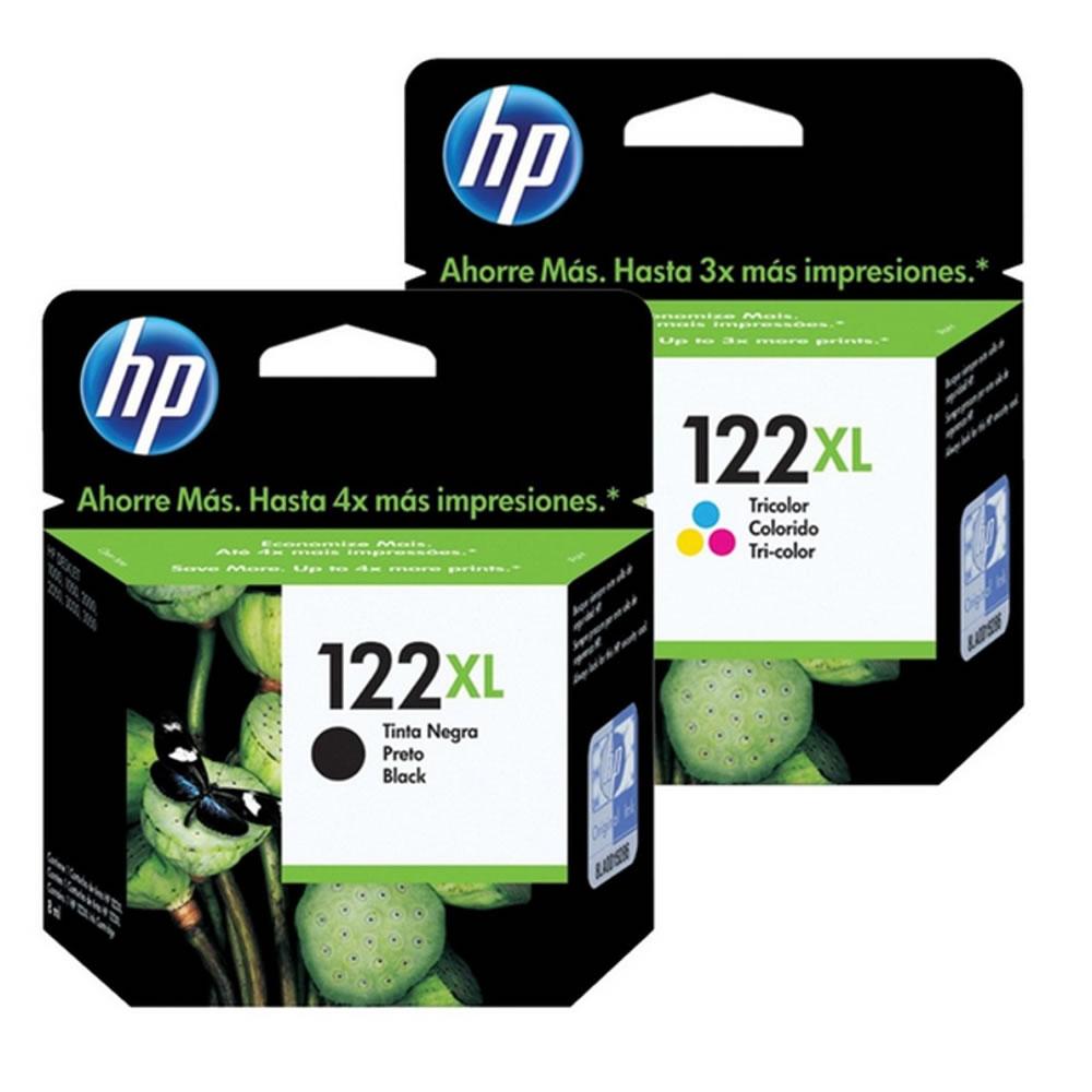 Kit 2 cartuchos HP 122XL preto e colorido Alto Rendimento para 1000 2050 3050