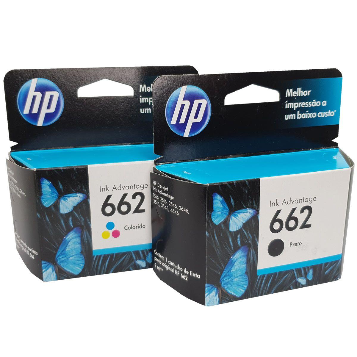 Kit 2 cartuchos HP 662 preto e colorido para 2516 3515 3516 2546