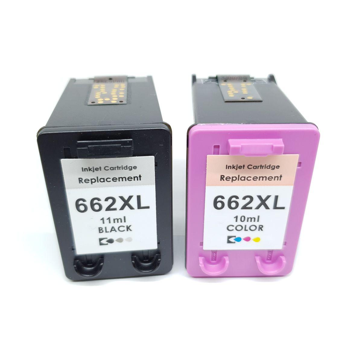 Kit 2 cartucho compatível 662xl preto e colorido para 2516 3516 2546 1516 da HP