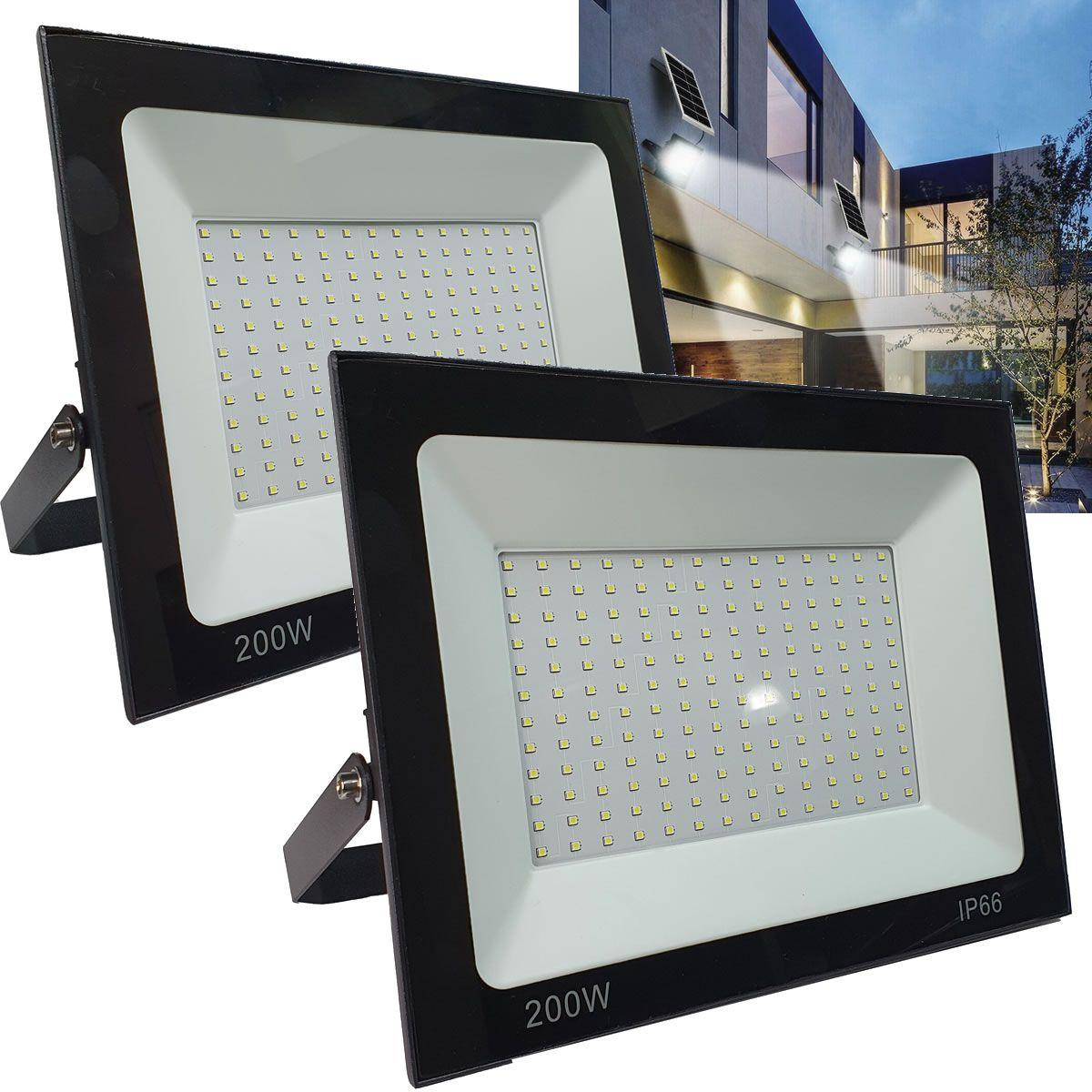 KIT 2 refletor 200w LED SMD Holofote Bivolt Externo Luz Branca