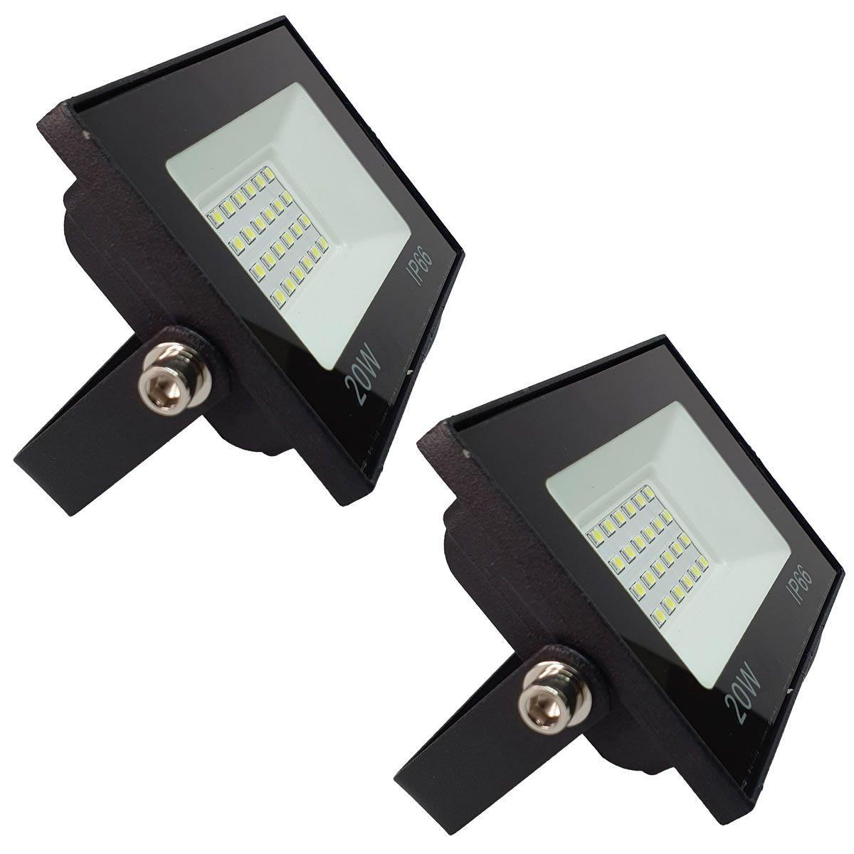 KIT 2 refletor 20w LED SMD Holofote Bivolt Externo Luz Branca