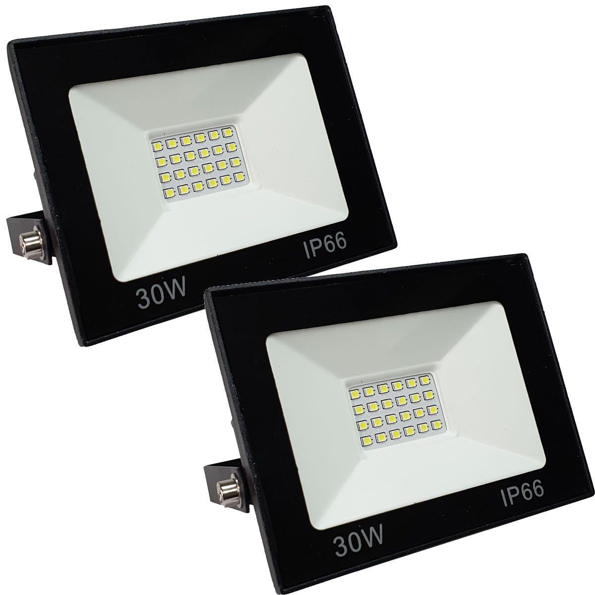 KIT 2 refletor 30w LED SMD Holofote Bivolt Externo Luz Branca