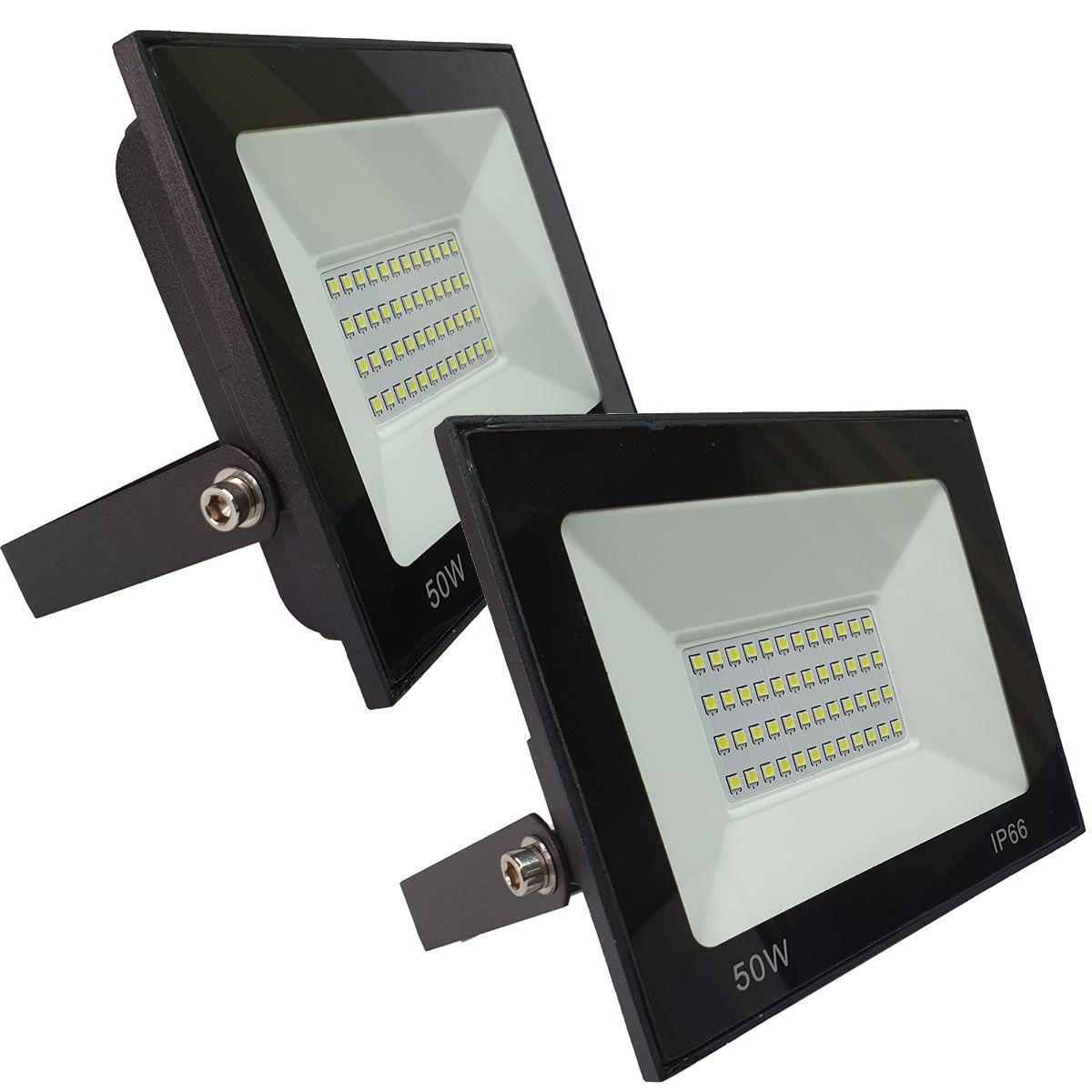 KIT 2 refletor 50w LED SMD Holofote Bivolt Externo Luz Branca