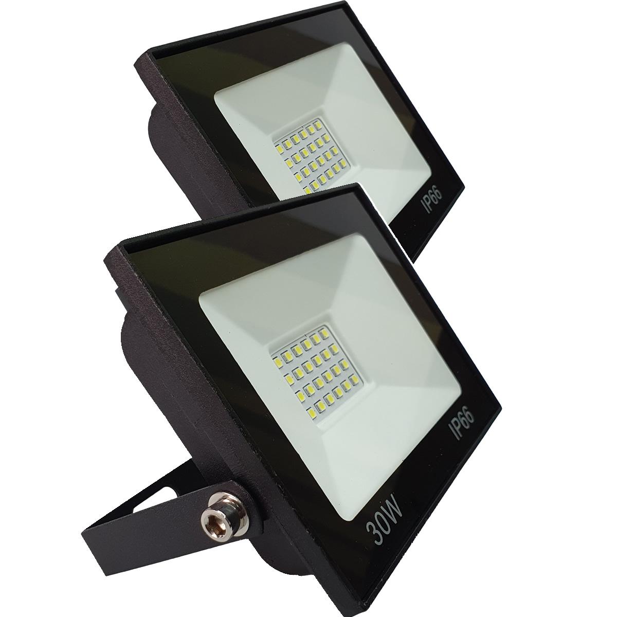 Kit 2 Refletor Led 20w Luz Verde E 2 Luminarias Emergencia