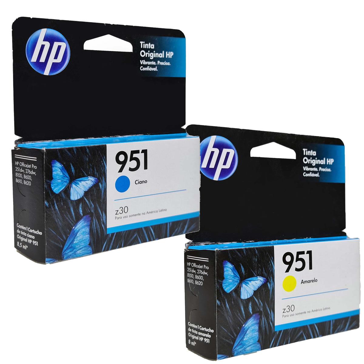 Kit 2 Cartuchos HP951 Ciano Amarelo para HP Officejet 8100 8600 8610