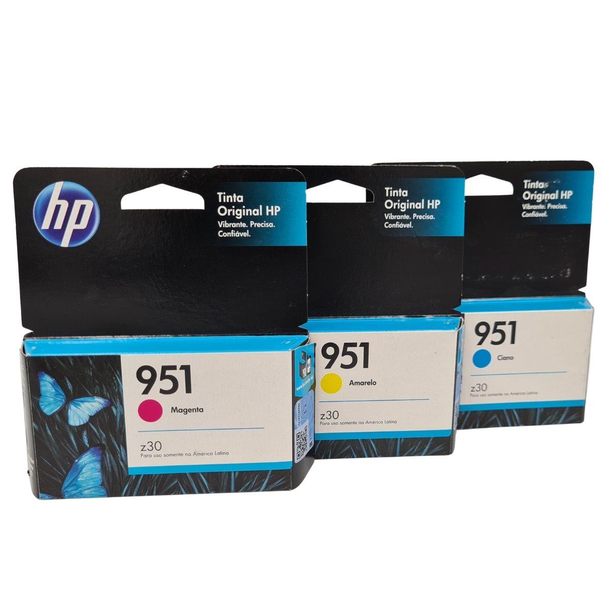Kit 3 Cartuchos HP951 Ciano Magenta Amarelo para HP Officejet 8100 8600 8610