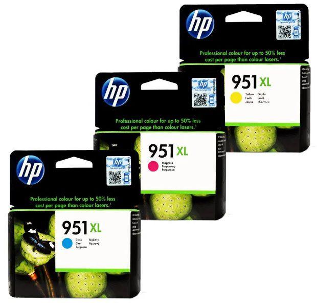 Kit 3 Cartuchos HP951XL Ciano Magenta Amarelo para HP Officejet 8100 8600 8610