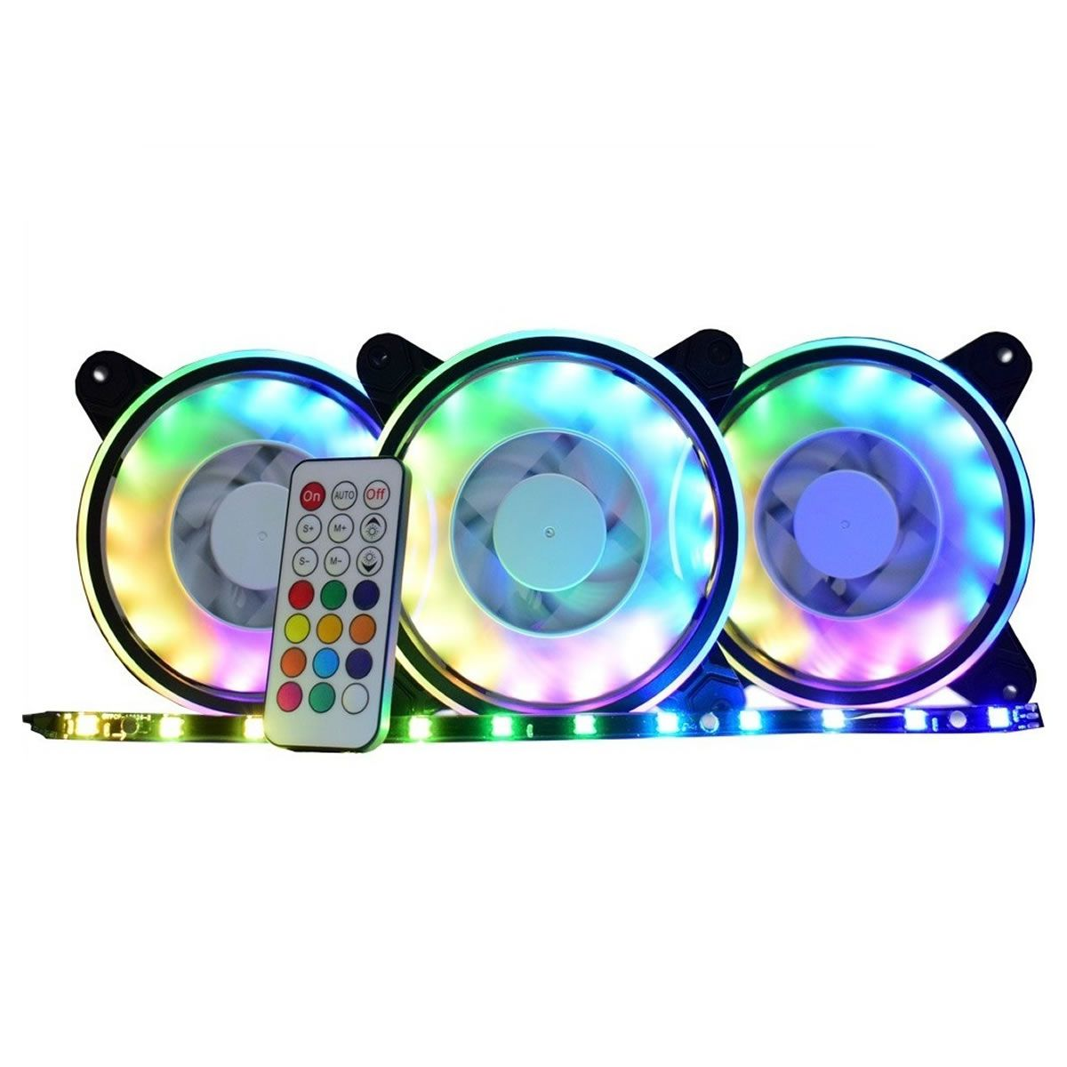 Kit 3 Coolers Fan RGB ARGB Rainbow com Fita LED AF-Y1225 KMEX para Gabinete