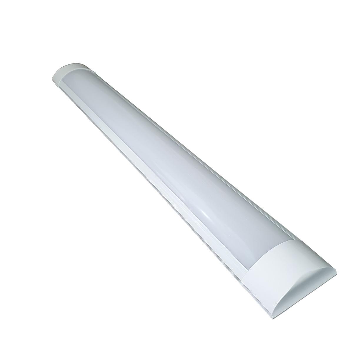 Kit 3 Lâmpadas Tubular Led 60cm Slim C/ Base/calha 6500k