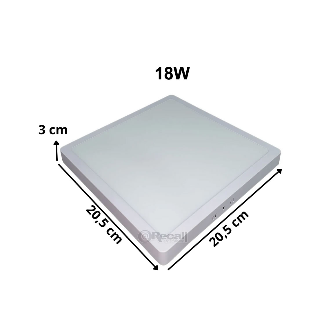 KIT 3  Painel Plafon LED 18w Quadrado Sobrepor Luminária 6500k