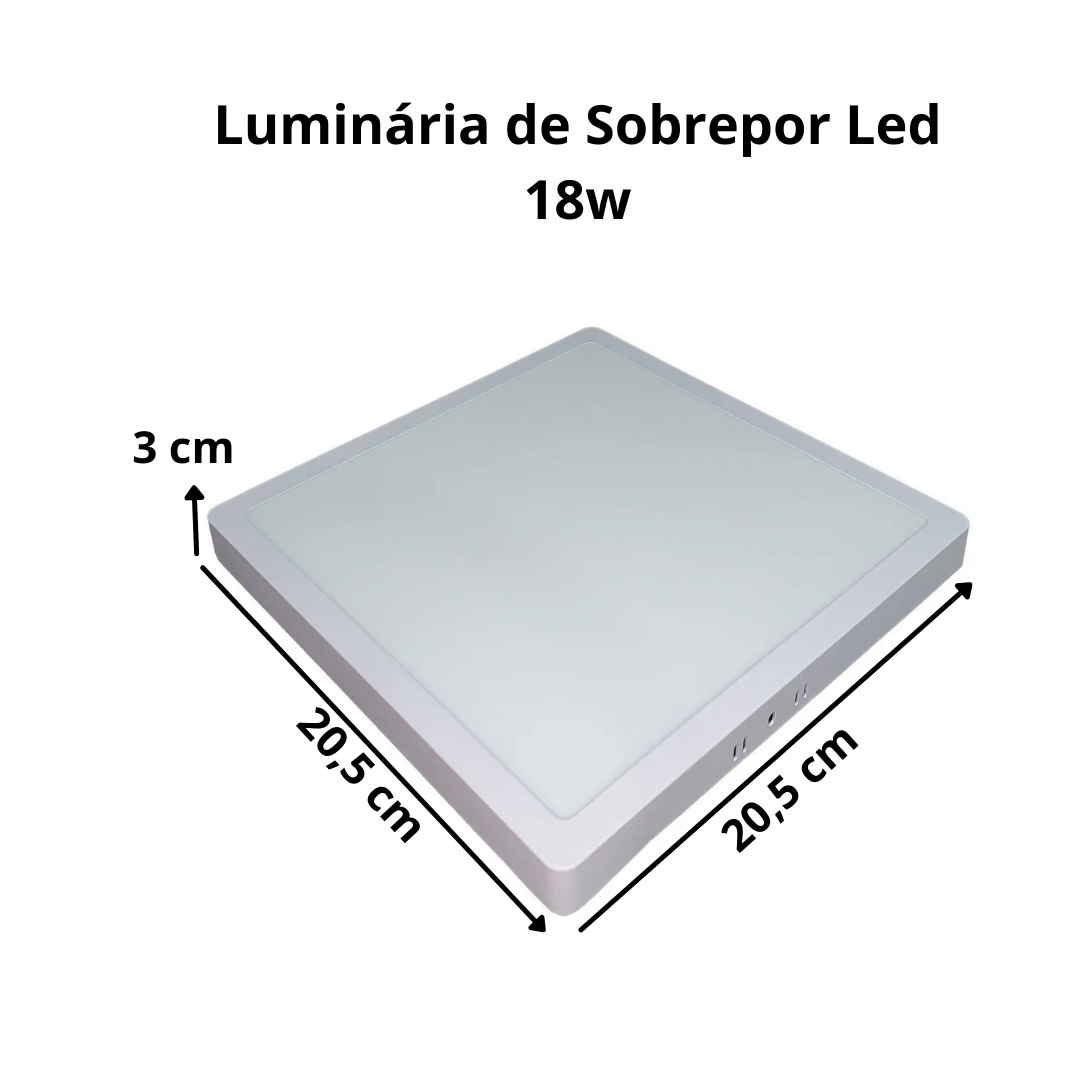 KIT 3  Painel Plafon LED 18w Quadrado Sobrepor Branco Frio Luminária