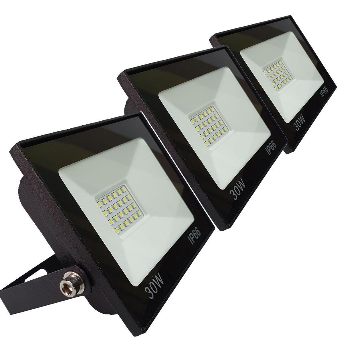 KIT 3 refletor 30w LED SMD Holofote Bivolt Externo Luz Branca