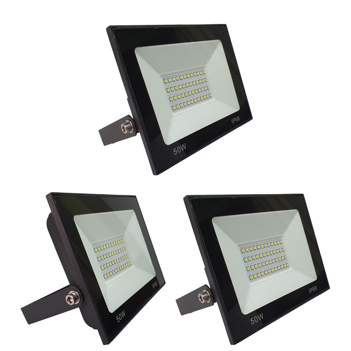 KIT 3 refletor 50w LED SMD Holofote Bivolt Externo Luz Branca