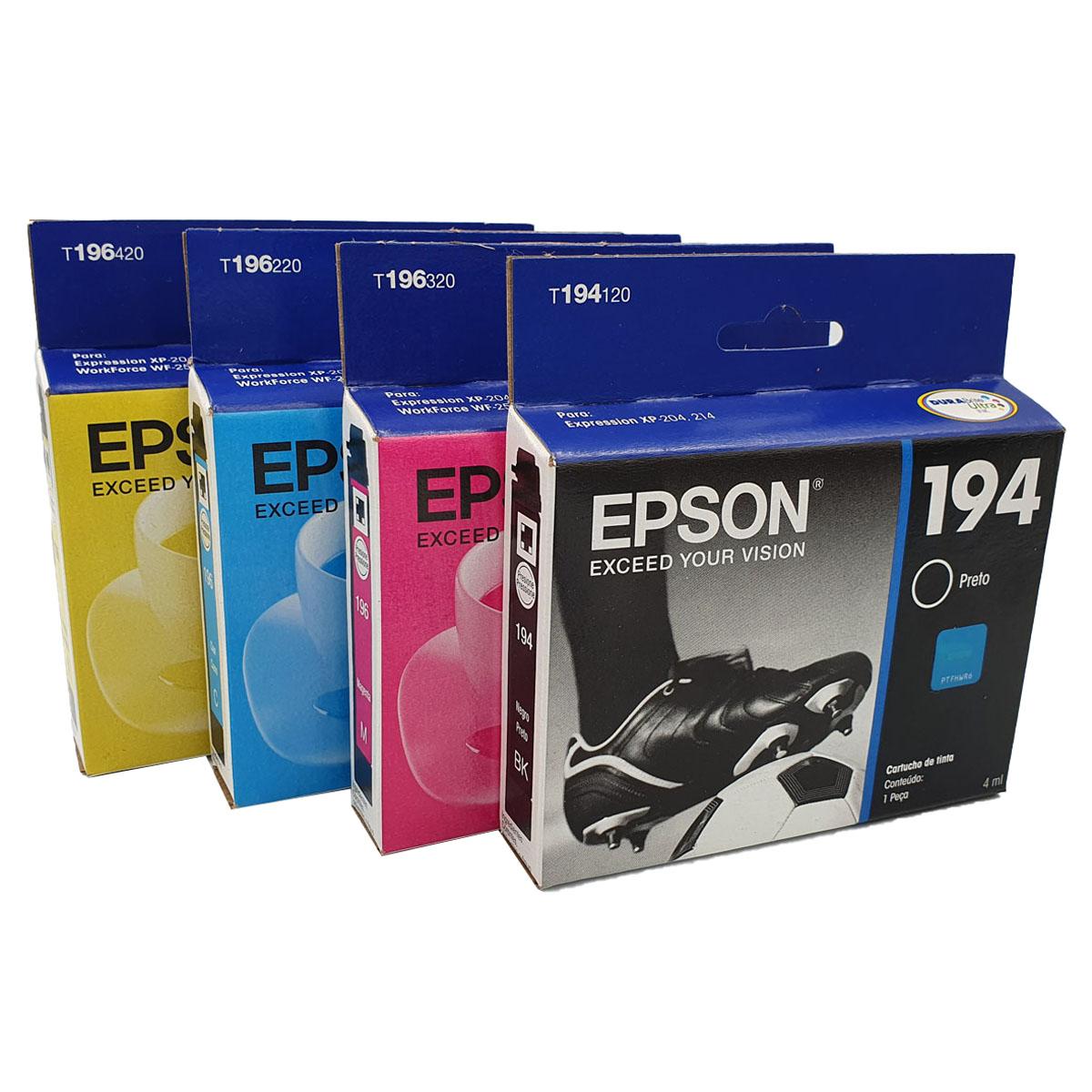 Kit 4 cartuchos 194 preto e 196 colorido originais Epson para XP204 XP214