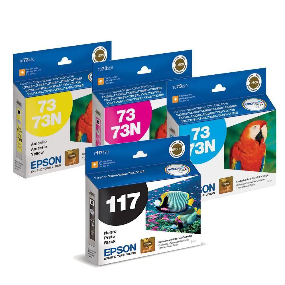 Kit 4 Cartuchos EPSON T117 117 To73 73n para T24 T23 TX105 TX115