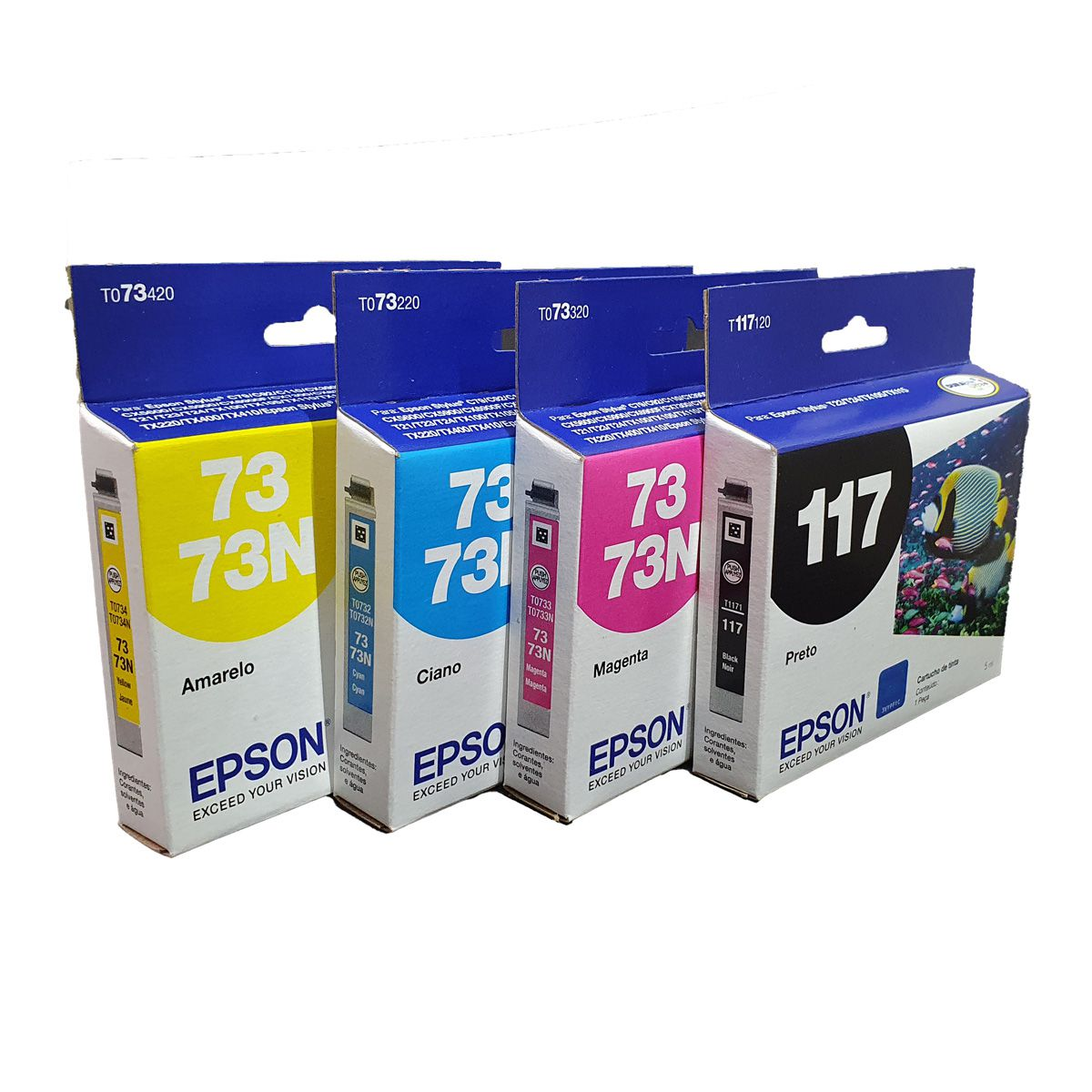 Kit 4 Cartuchos EPSON T117 117 To73 73n para T24 T23 TX105 TX115