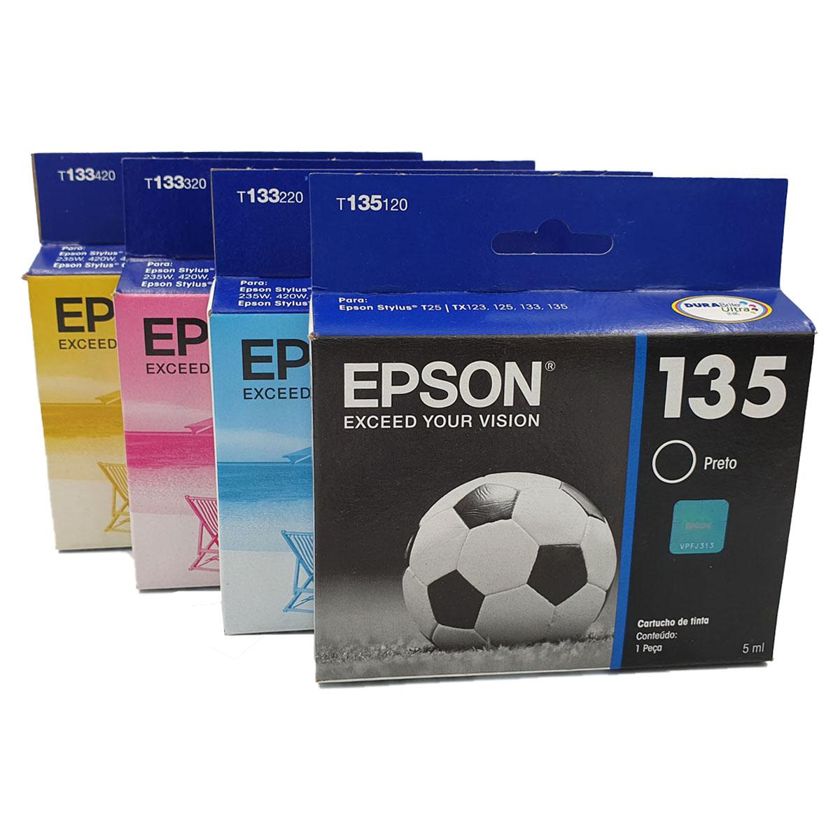 Kit 4 cartuchos EPSON T133 133 e 135 para T25 TX123 TX125 TX133 TX135