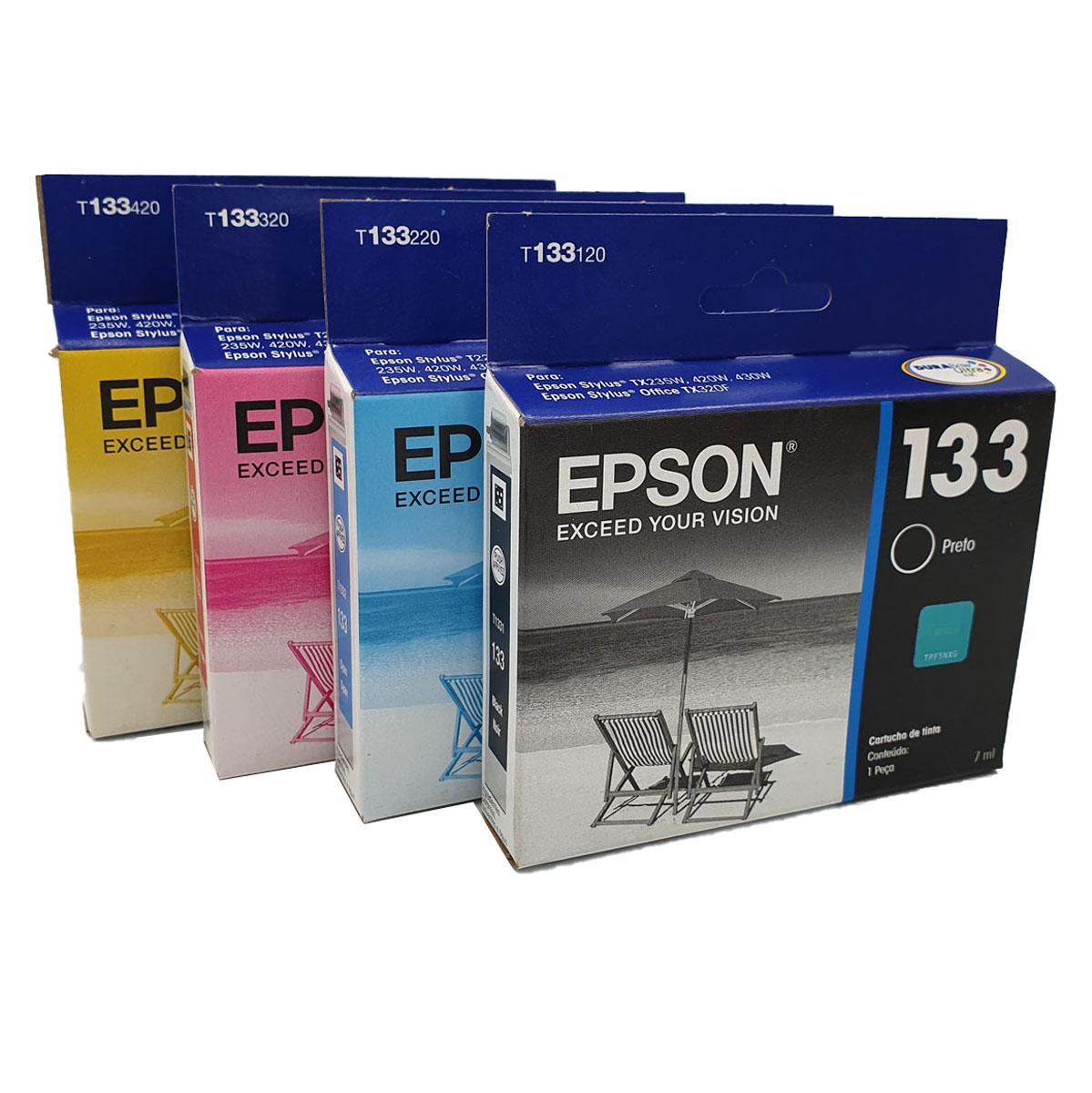 Kit 4 Cartuchos EPSON T133 133 para TX235W TX420W TX430W TX320F