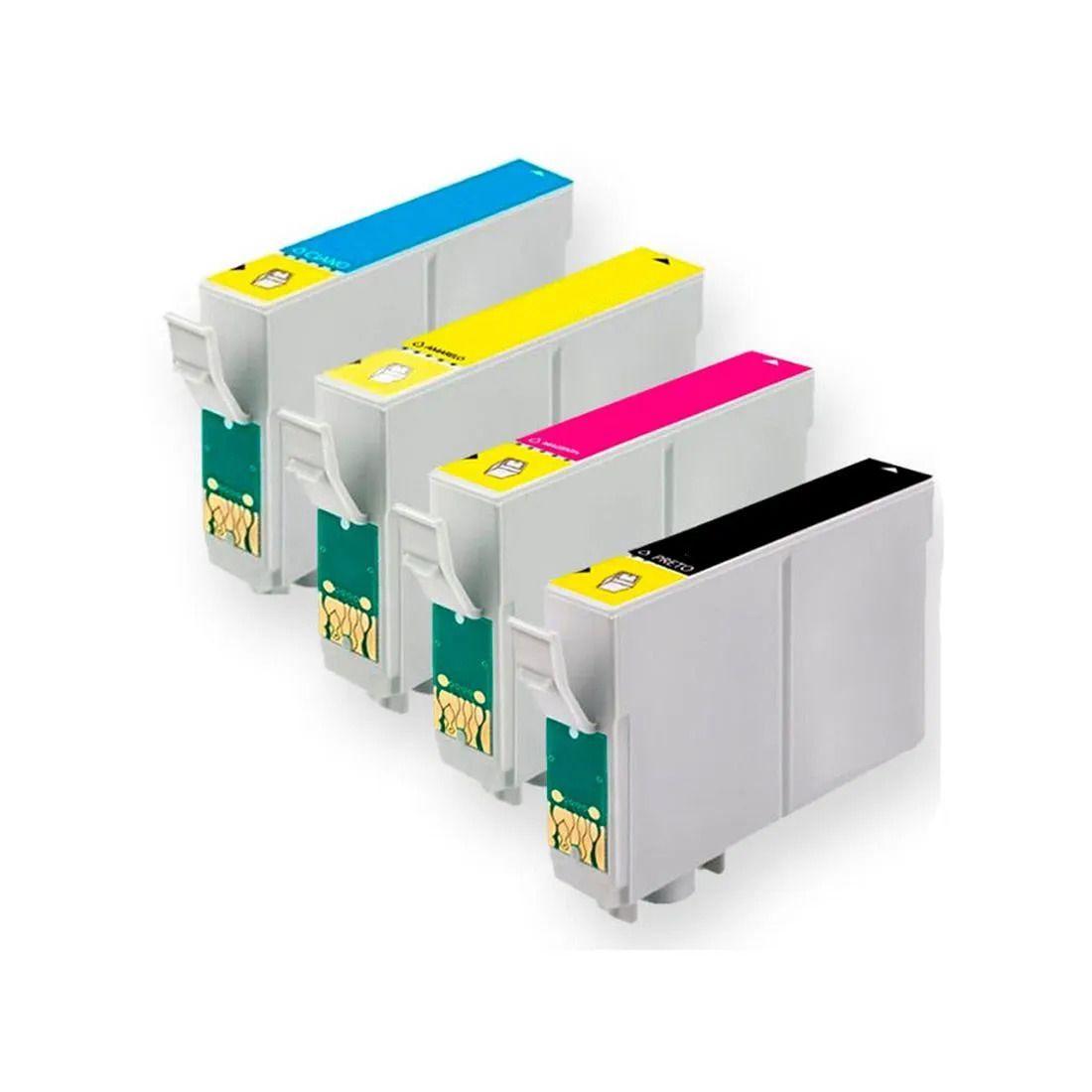 Kit 4 cartuchos T133 133 preto e coloridos compatíveis Epson Tx235w Tx320f Tx420w Tx430w