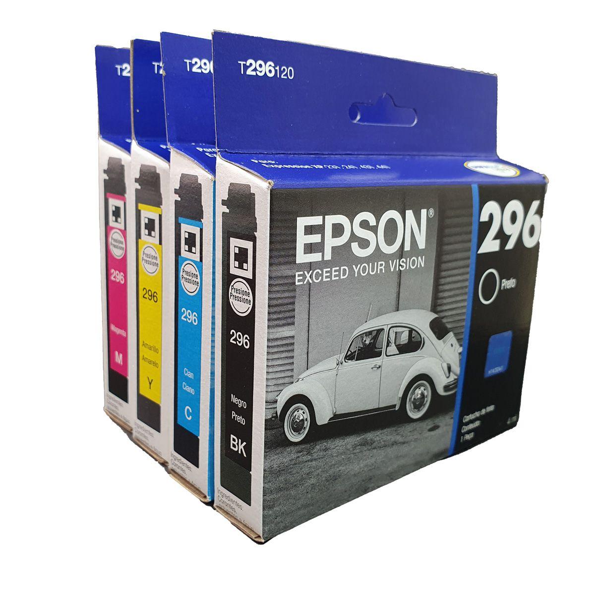 Kit 4 cartuchos T296 296 preto e colorido originais Epson para XP231 XP431