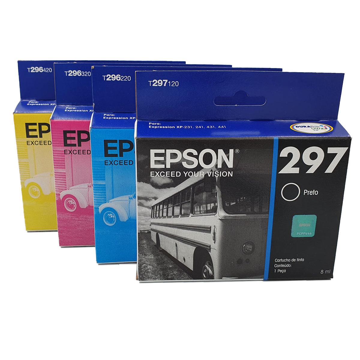 Kit 4 cartuchos T297 T296 preto e colorido originais Epson para XP231 XP431 XP231 XP431 TO297 TO296