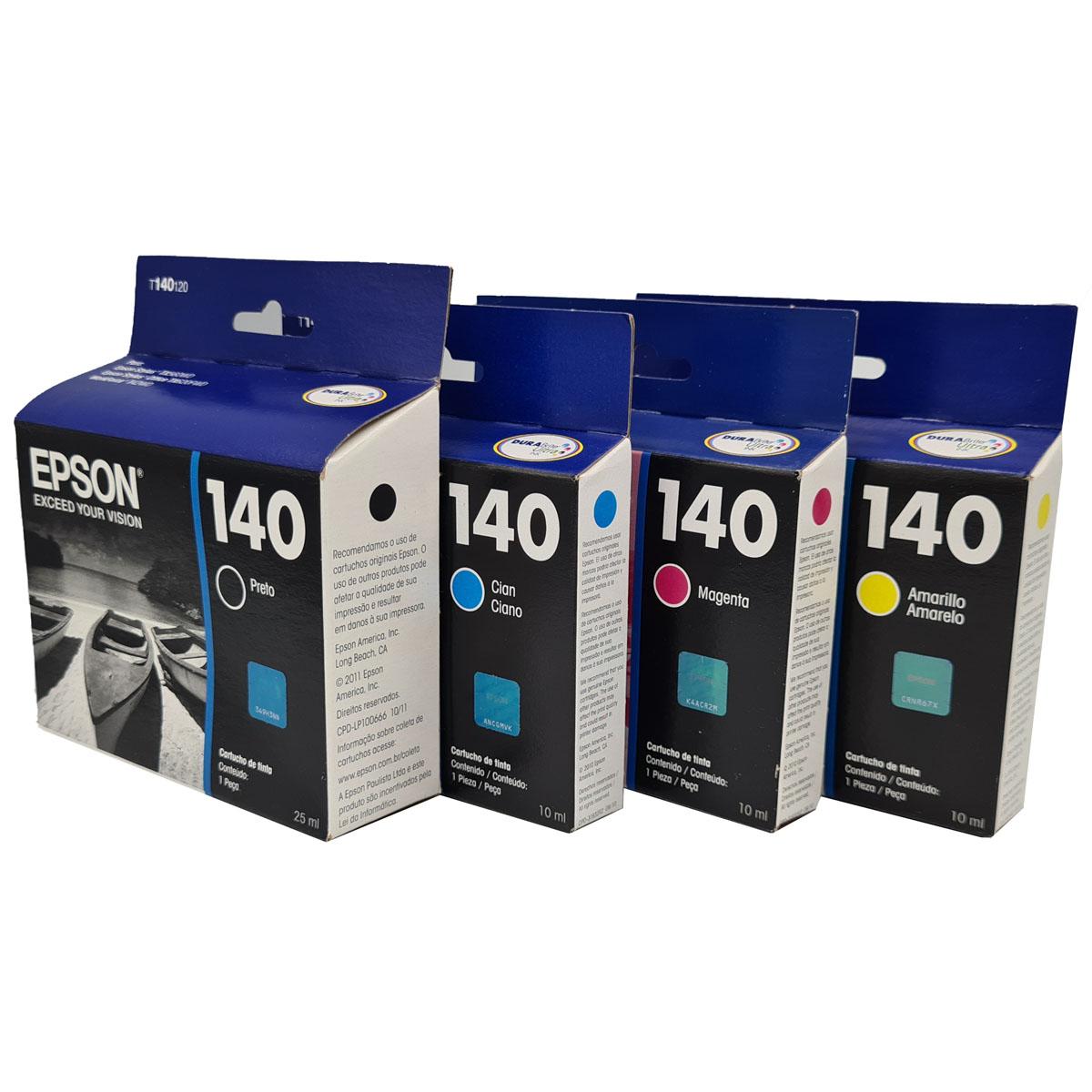 Kit 4 cores Cartucho EPSON T140 para T42WD TX525 TX620FWD TX560WD