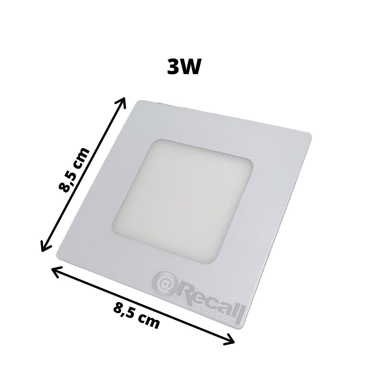 Kit 4 luminaria 3W LED embutir gesso Luz fria 6500k