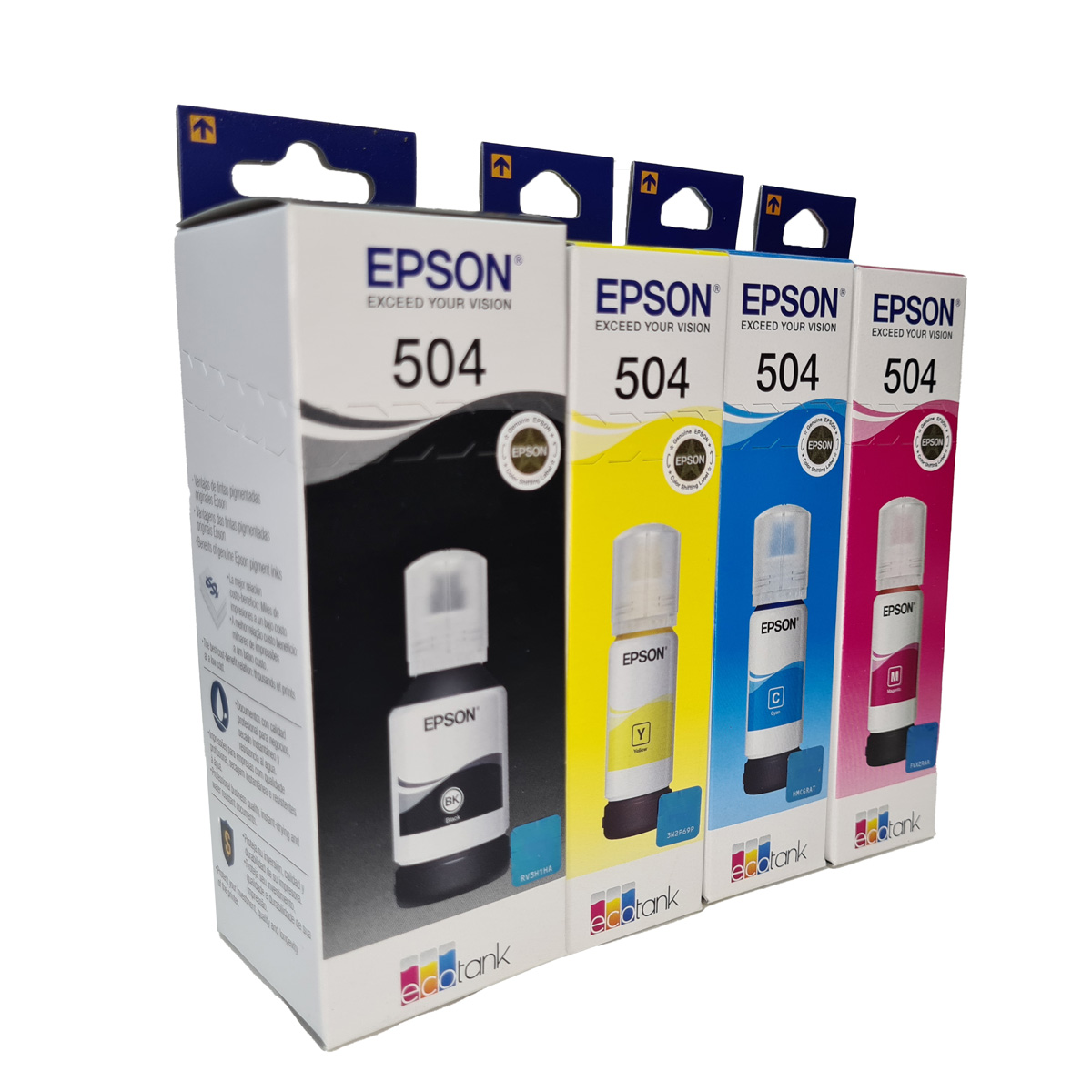 Kit 4 refil de tinta T504 504 preto e colorido Epson para L4150 L4160 L6161 L6171 L6191