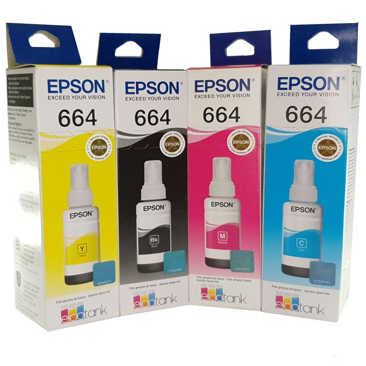 Kit 4 refil de tinta T664 664 preto e colorido Epson para L355L375 L380 L395 L396