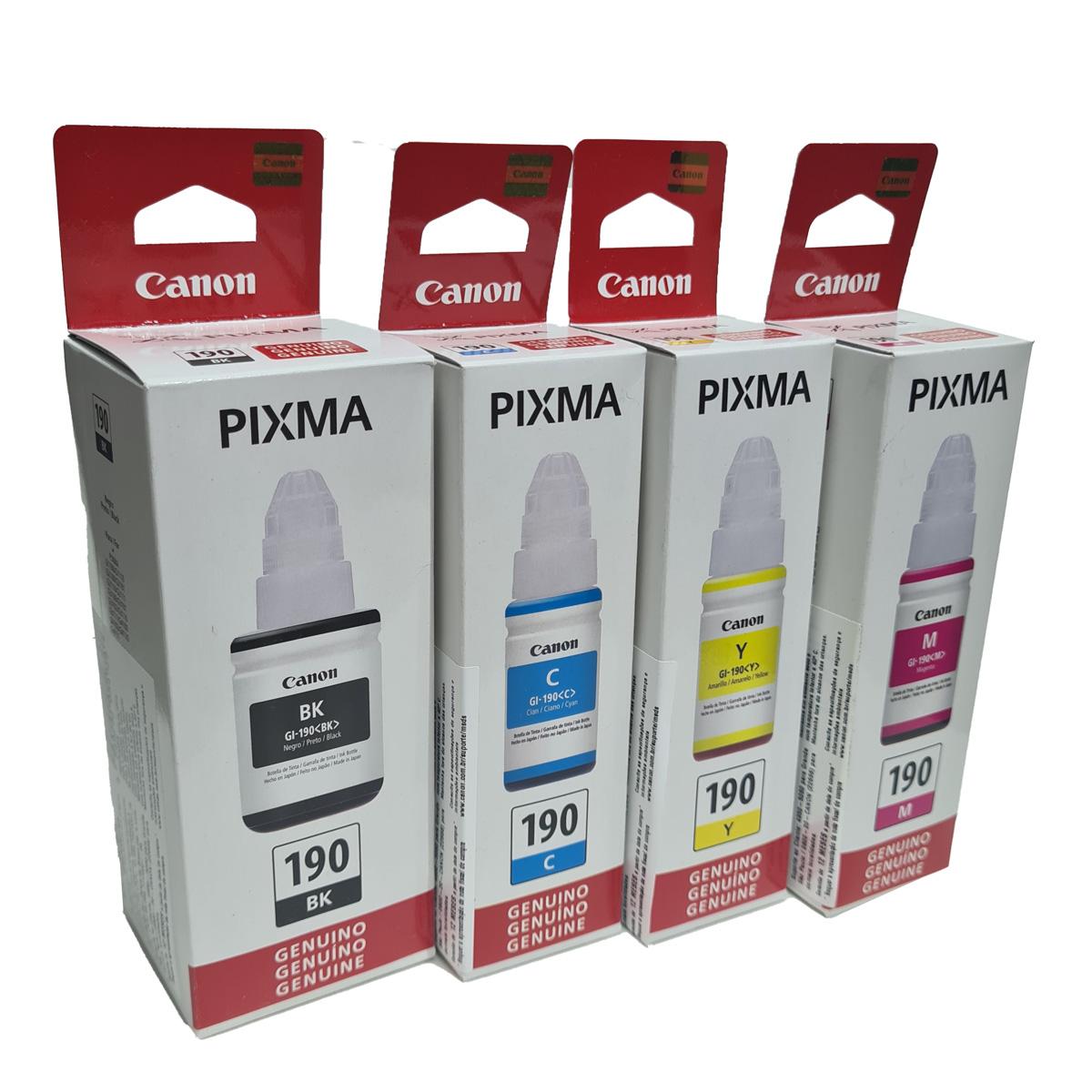 Kit 4 Refis de Tinta Canon GI190 para Pixma G1100 2100 3100