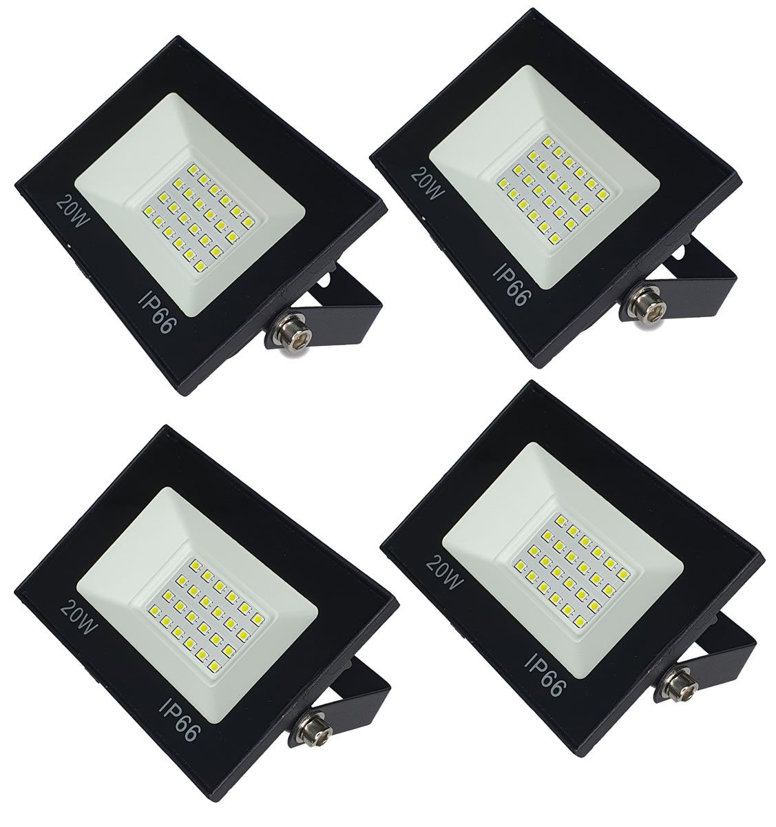 KIT 4 refletor 20w LED SMD Holofote Bivolt Externo Luz Branca