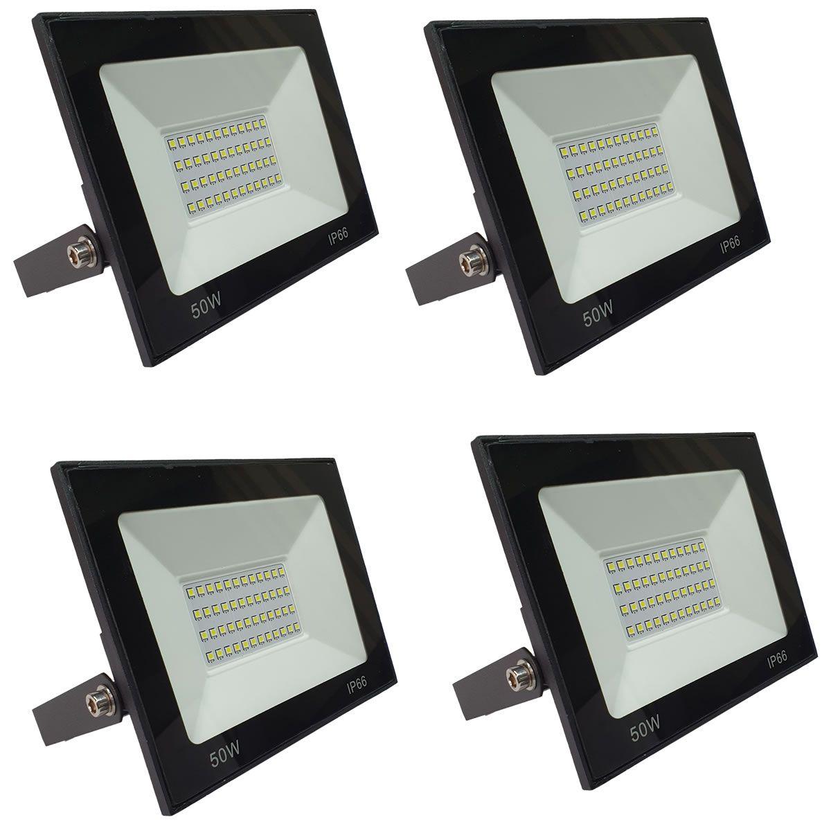 KIT 4 refletor 50w LED SMD Holofote Bivolt Externo Luz Branca