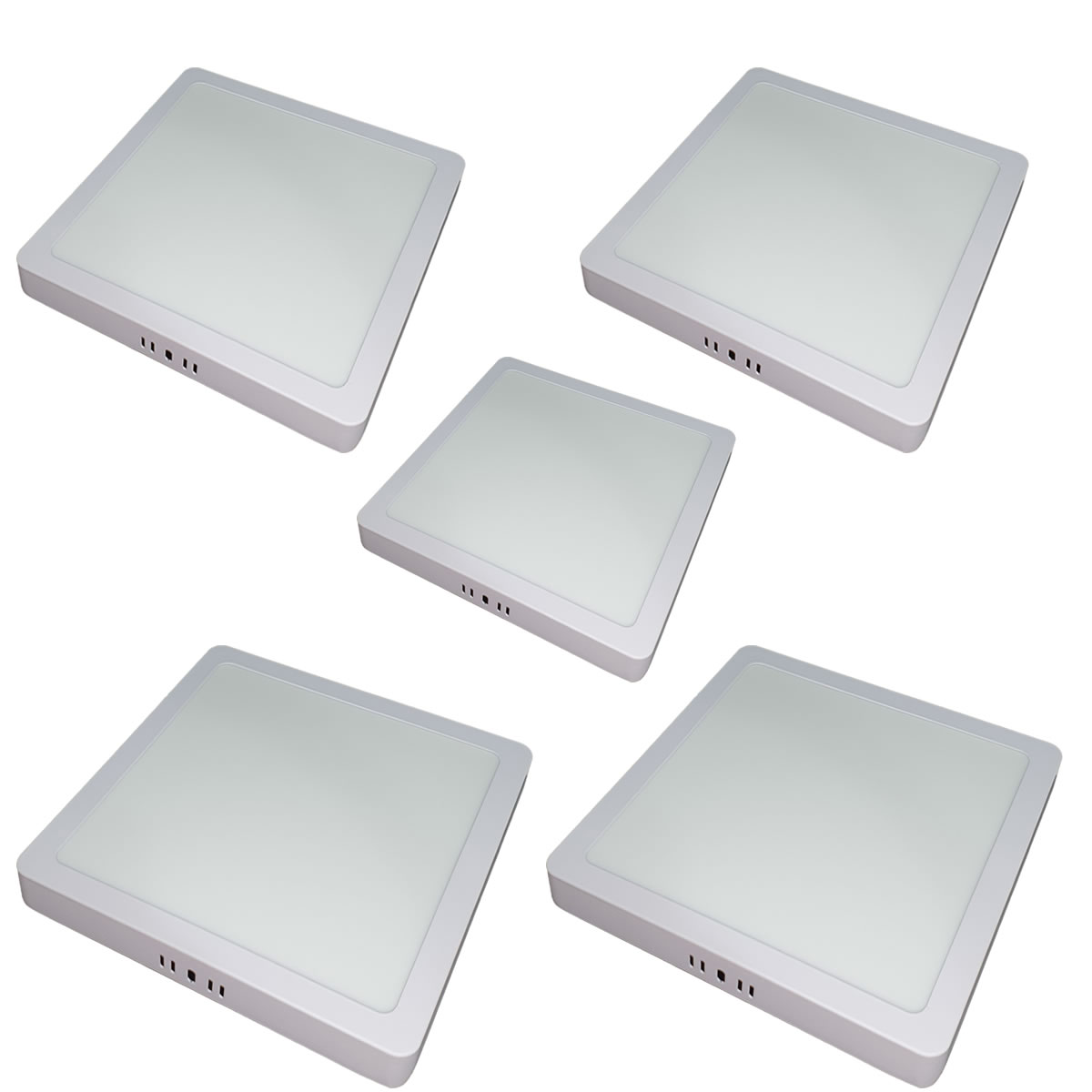 Kit 5 Luminária LED Sobrepor 24w Quadrada Branco Quente 3000k Plafon