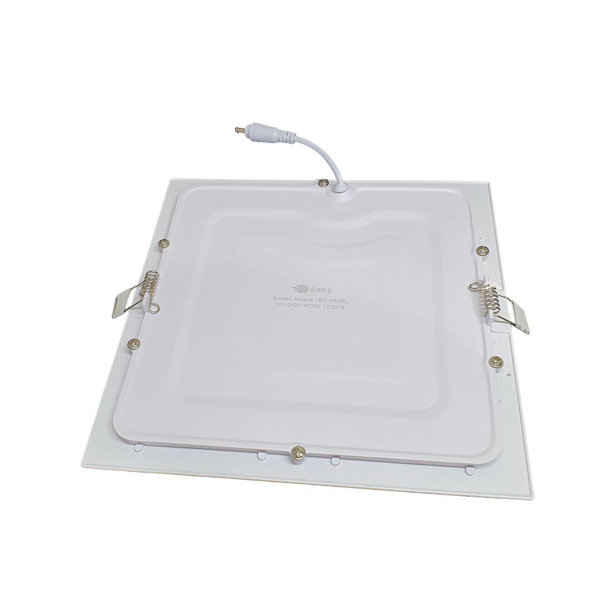 KIT 5 Painel Plafon LED 18W Quadrado Luz Branca Fria de Embutir