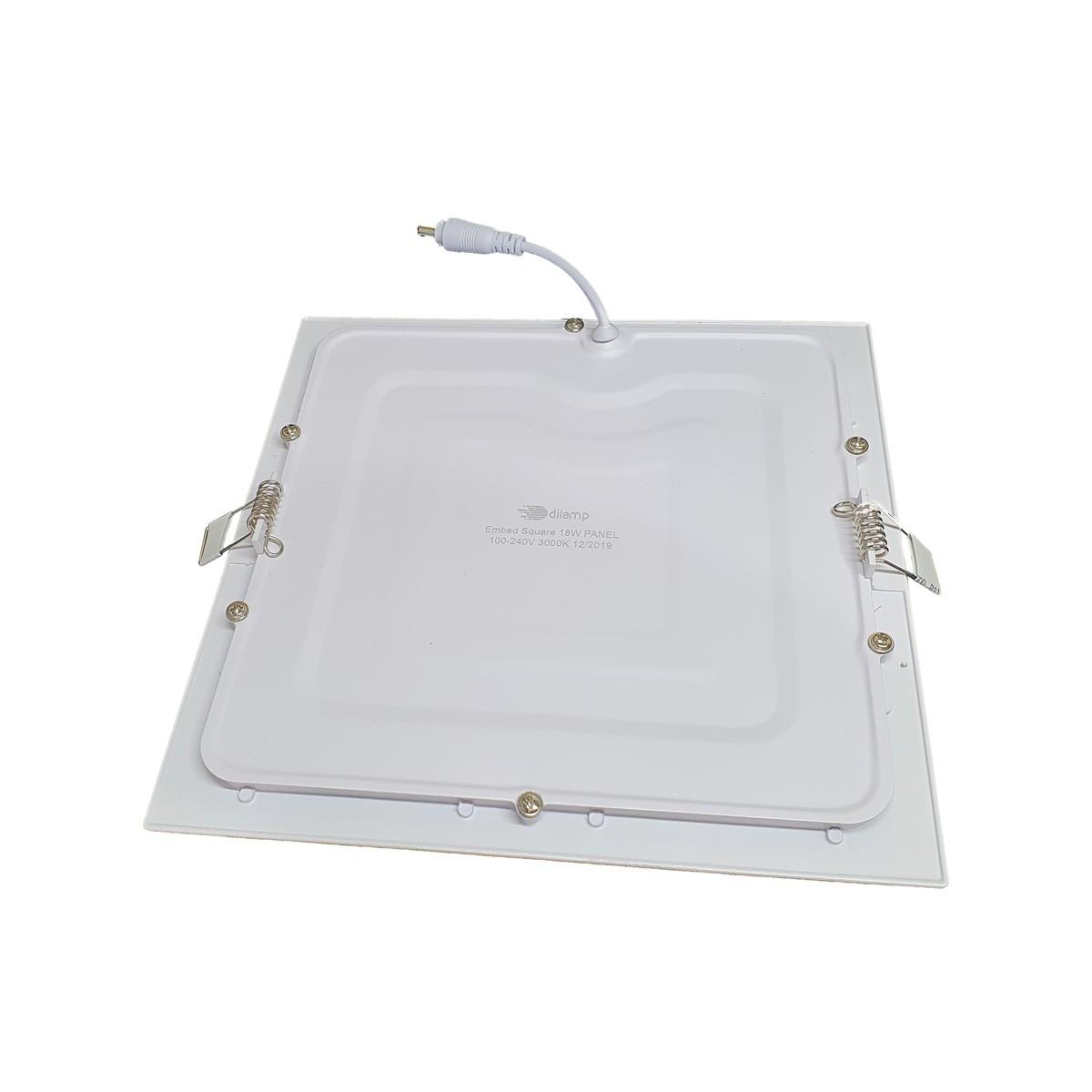 KIT 5 Painel Plafon LED 18W Quadrado Luz Branca Quente de Embutir