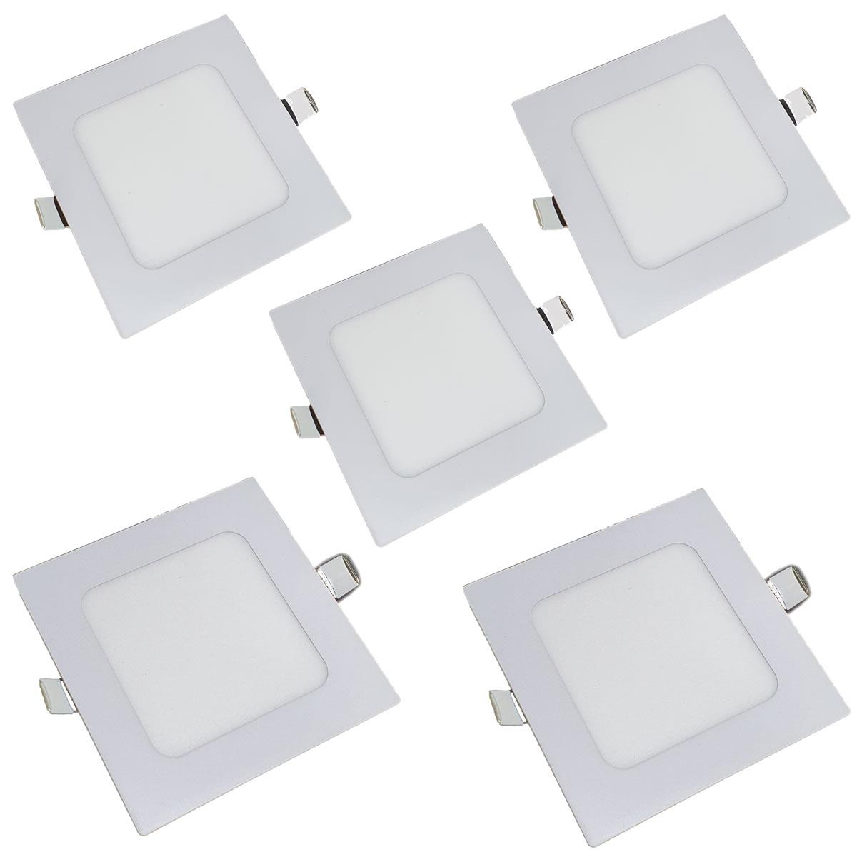KIT 5 Painel Plafon LED 6w Quadrado Embutir Branco Quente Luminária