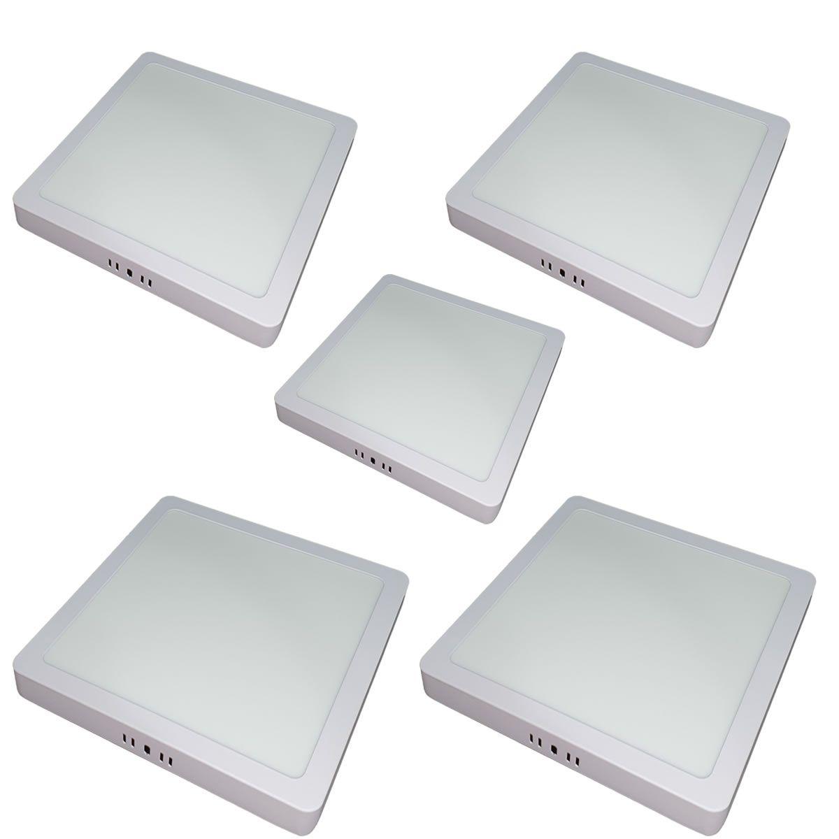 KIT 5 Painel Plafon LED 6w Quadrado Sobrepor Branco Quente Luminária