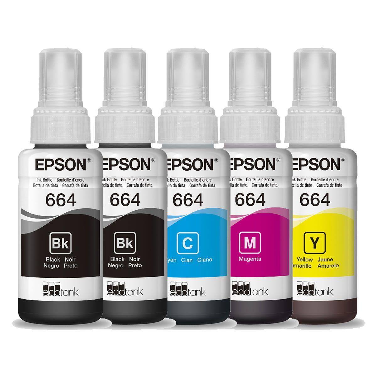 Kit 5 refil de tinta T664 664 preto e colorido Epson para L355 L365 L375 L380 L395