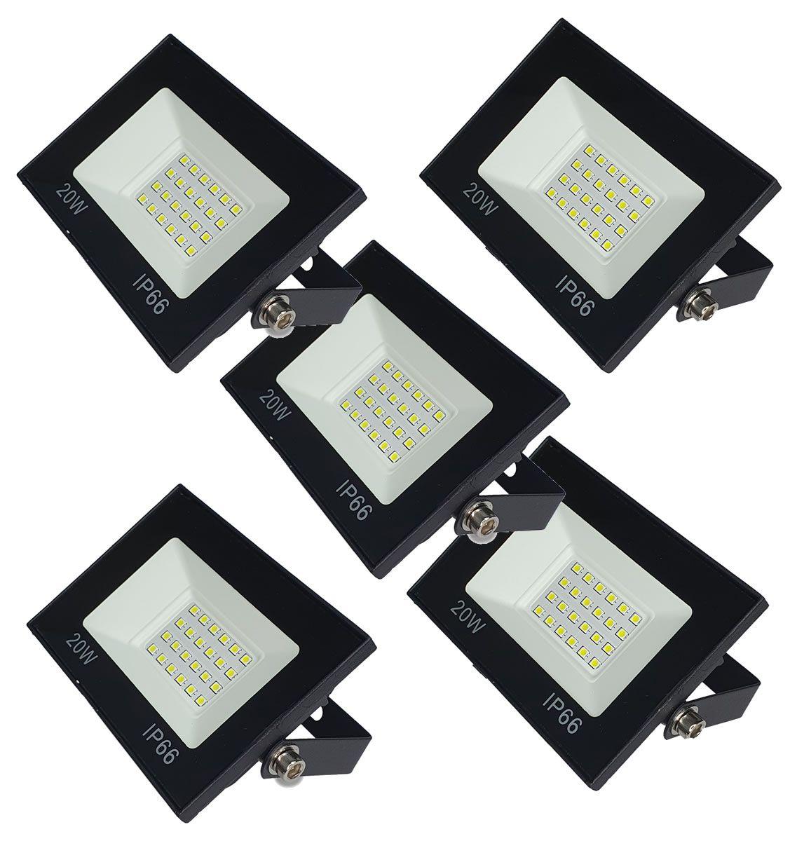 KIT 5 refletor 20w LED SMD Holofote Bivolt Externo Luz Branca