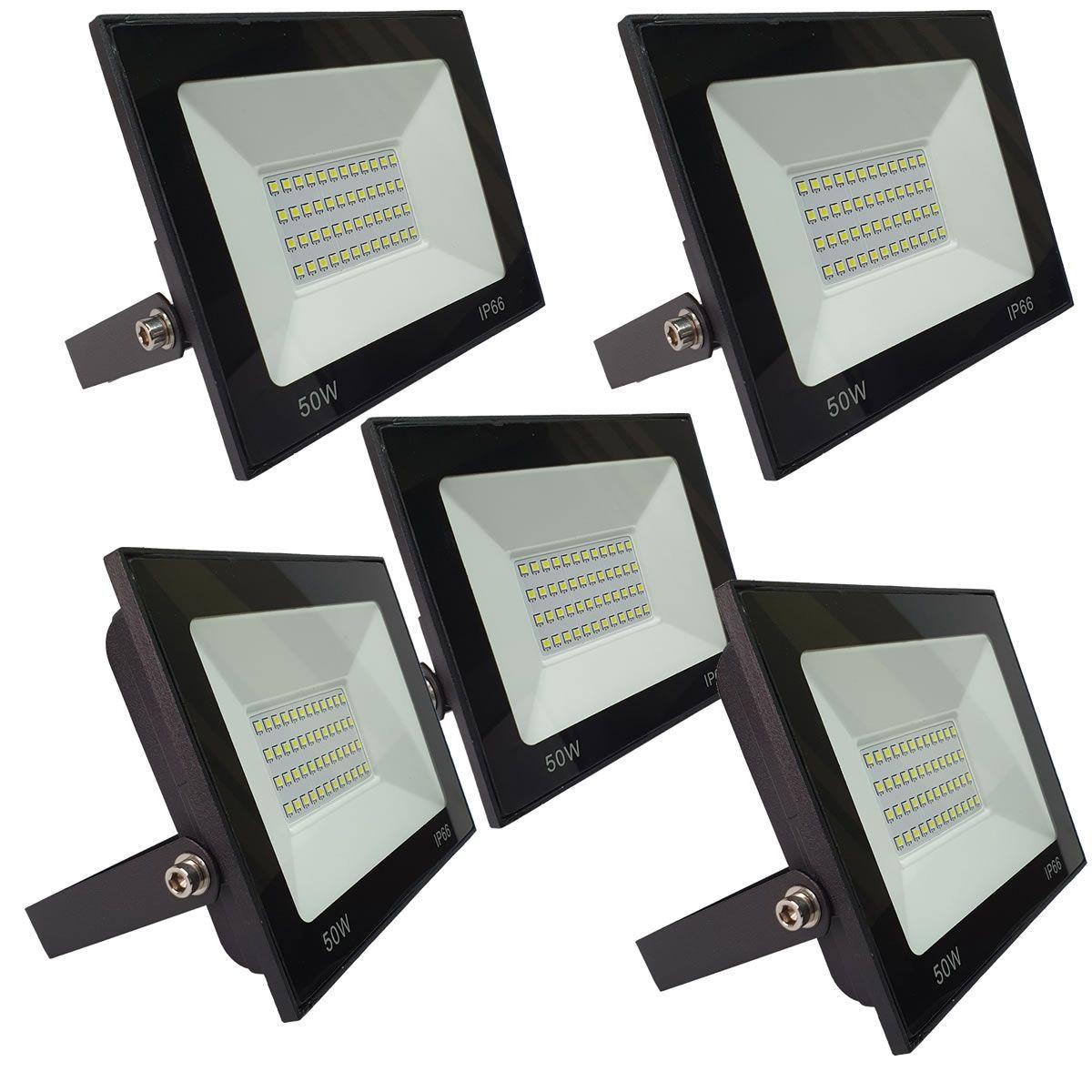 KIT 5 refletor 50w LED SMD Holofote Bivolt Externo Luz Branca
