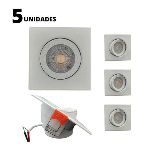 Kit 5 Spots LED SMD 5w Dicróica Direcionável Quadrado Forte Luz Fria 6500K