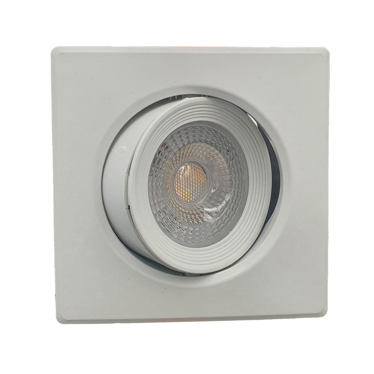 Kit 5 Spots LED SMD 5w Dicróica Direcionável Quadrado Forte Luz Quente 3000K