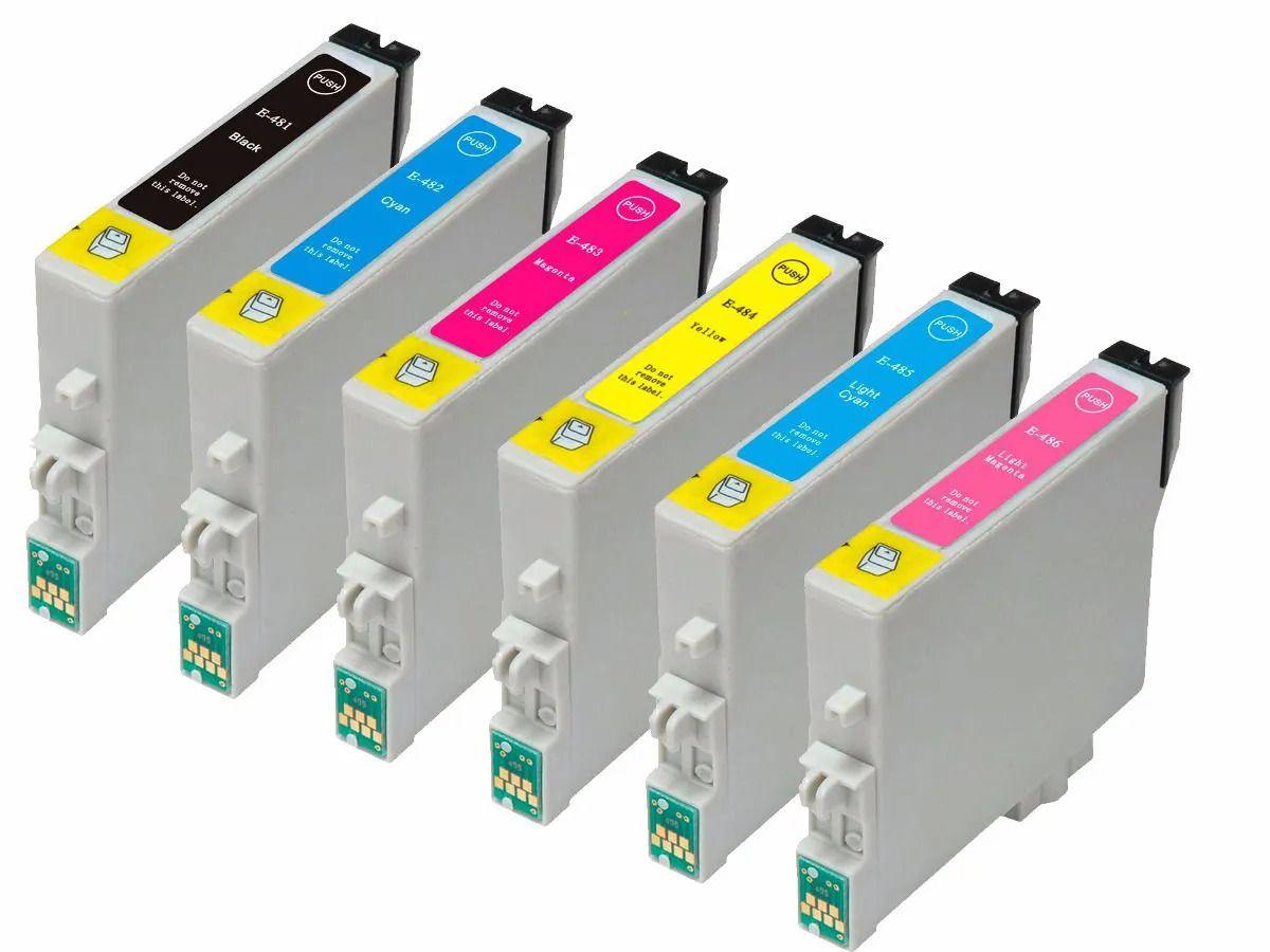 Kit 6 cartuchos MJ Compatível com R200 R220 TO481 T0482 TO483 TO484 TO485 TO486 da Epson