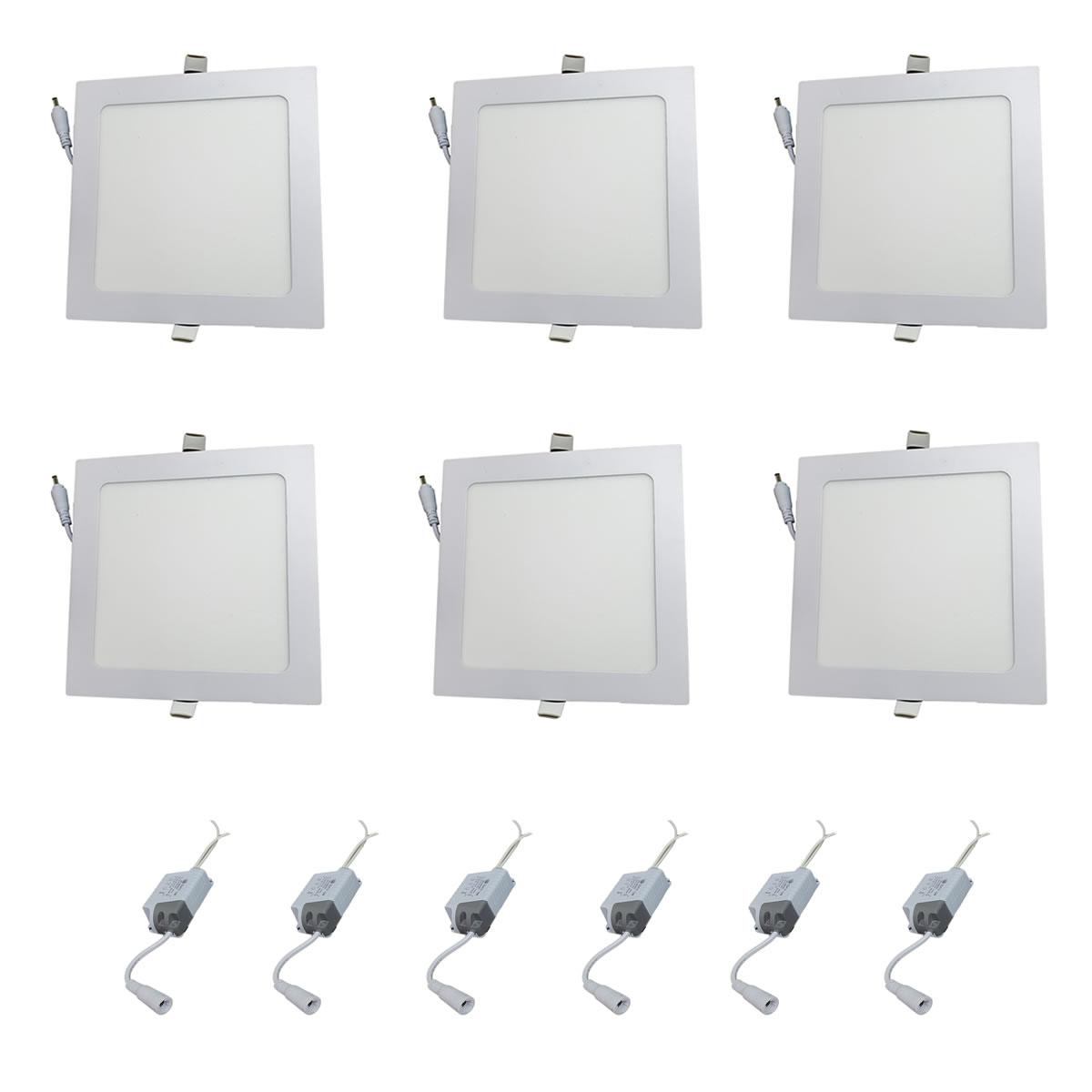 Kit 6 Luminárias LED Embutir 12w Quadrada Branco Frio 6500k Plafon