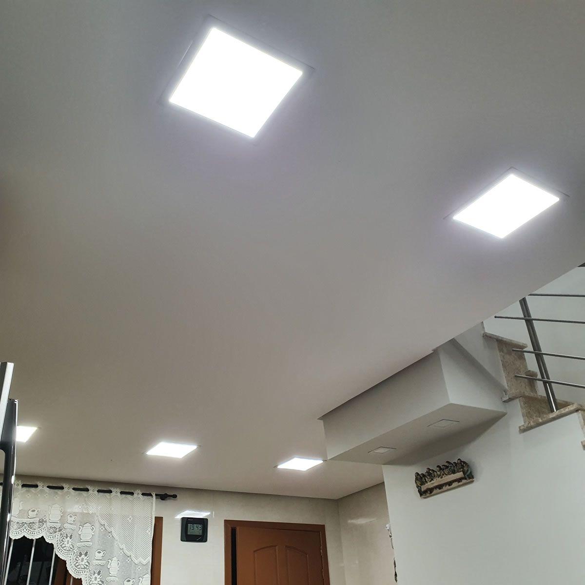 KIT 5 Painel Plafon LED 36w Quadrado Embutir Branco Frio Luminária