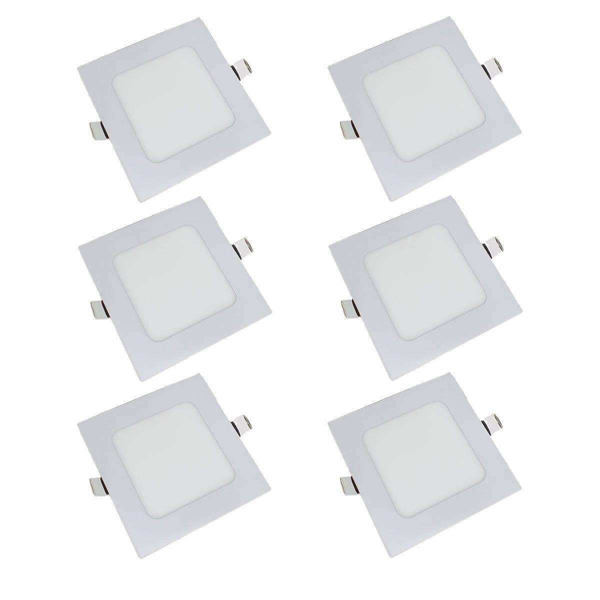 KIT 6 Painel Plafon LED 6w Quadrado Embutir Branco Quente Luminária