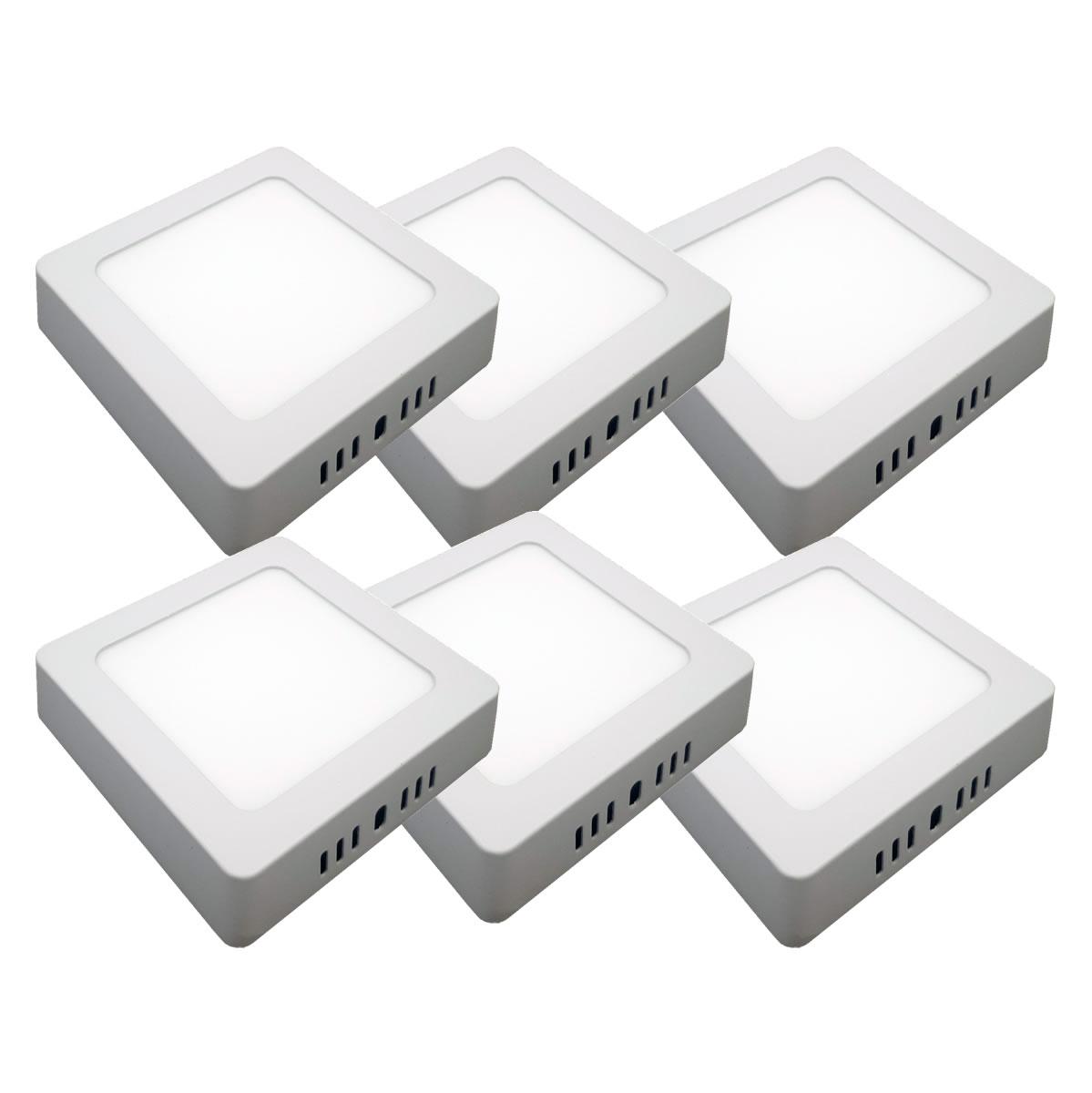 KIT 6 Painel Plafon LED 6w Quadrado Sobrepor Branco Quente Luminária